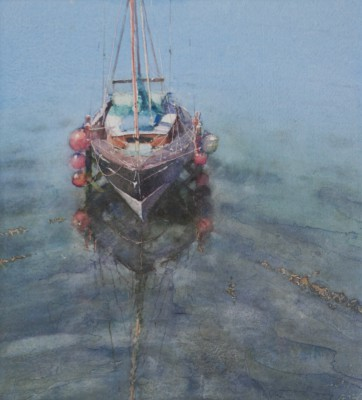 British Artist Keith NOBLE - Yacht and Reflection, Newlyn