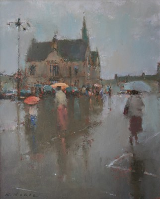 British Artist Keith NOBLE - The Square at Stow