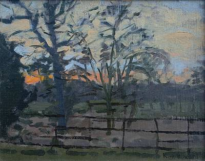 Sunset, Swaffham Prior painting by artist Ken HOWARD