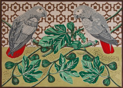 Limited Edition Prints Artist Linda Richardson - African Grey Parrots and Figs