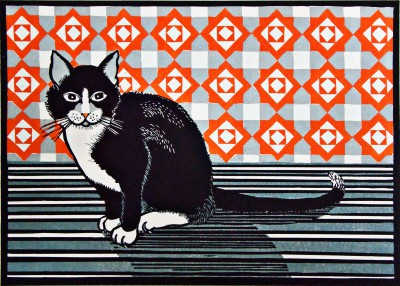 Linda Richardson - Cat and Screen - Orange