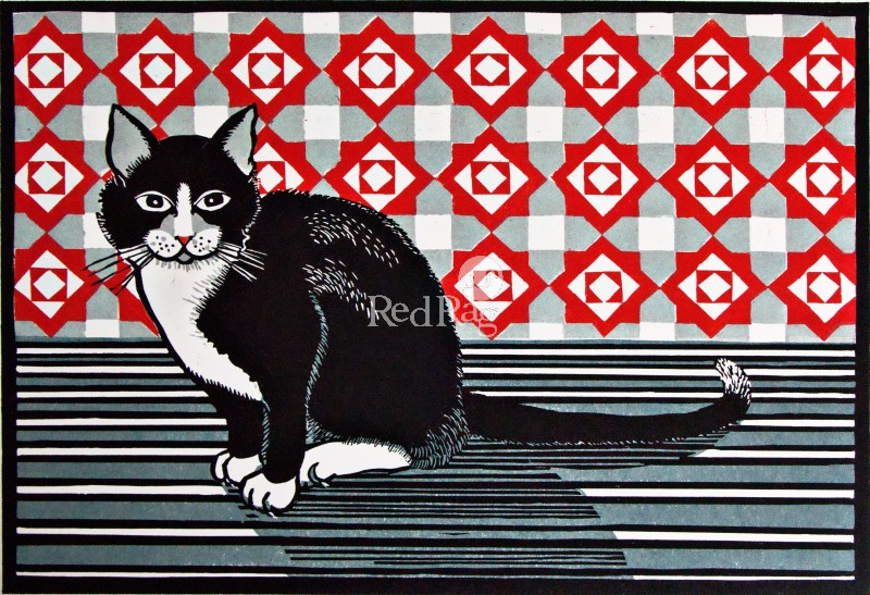 Linda Richardson - Cat and Screen - Red