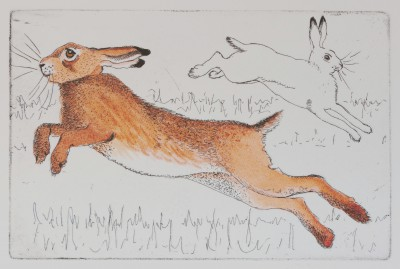 Limited Edition Prints Artist Linda Richardson - Leaping Hares