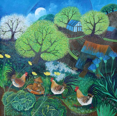 Happy Hens  painting by artist Lisa GRAA JENSEN