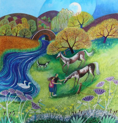 Strolling By The River painting by artist Lisa GRAA JENSEN