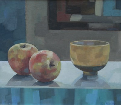 Liz RIDGWAY - Yellow Bowl with Apples