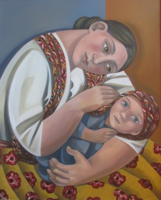 British Artist Elizabeth RIDGWAY - Mother and Child with Scarf