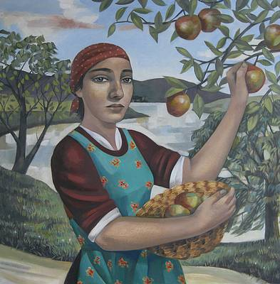 British Artist Liz RIDGWAY - Apple Picking