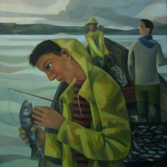 British Artist Liz RIDGWAY - Fishing Trip