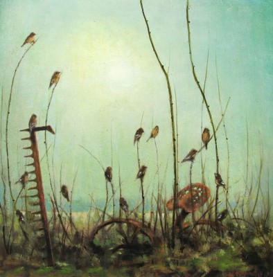Louis S McNALLY, contemporary artist - Fifteen Finches