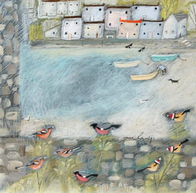 Harbour Finches painting by artist Louise RAWLINGS