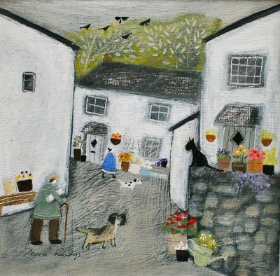 British Artist Louise RAWLINGS - Fetching the Sunday Papers