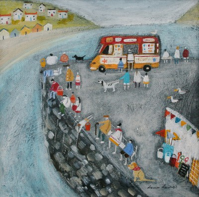 British Artist Louise RAWLINGS - Crabbing off the Quayside