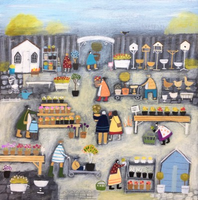 British Artist Louise RAWLINGS - Just Popping to the Garden Centre
