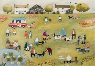 British Artist Louise RAWLINGS - The Annual Village Dog Show
