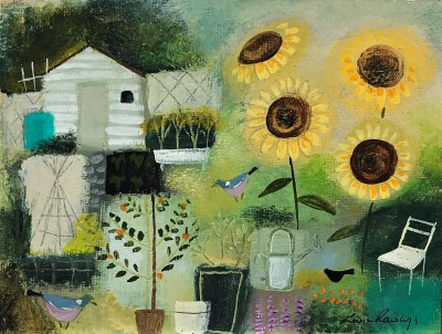 British Artist Louise RAWLINGS - First of the Allotment Sunflowers