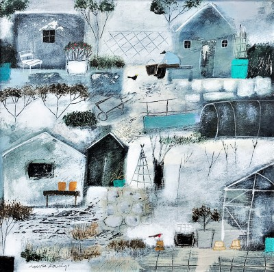 British Artist Louise RAWLINGS - January at the Allotments