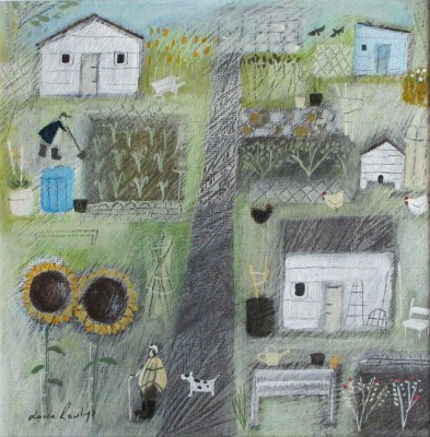 British Artist Louise RAWLINGS - Allotment Sunflowers