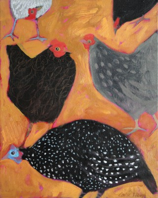 British Artist Louise WAUGH - Hens and Guinea Fowl
