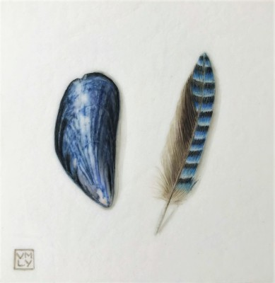 British Artist Louise YOUNG - Shell and Feather (Blue)