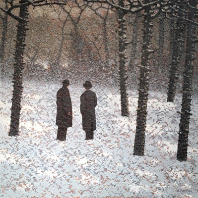 British Artist Mark EDWARDS - Waiting at the Five Trees