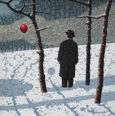 British Artist Mark EDWARDS - Two Men Watching The Balloon