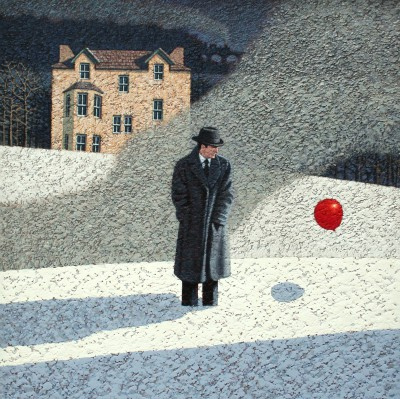British Artist Mark EDWARDS - Two Passing Trains