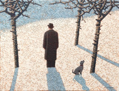 Dog Watching a Crow painting by artist Mark EDWARDS