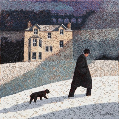 British Artist Mark EDWARDS - Walking Past Two Trains