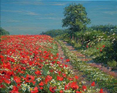 Mark PRESTON - Clear Sky and Poppies, Ednaston
