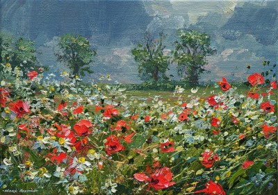 Mark PRESTON - Mayweed and Poppies, Ednaston