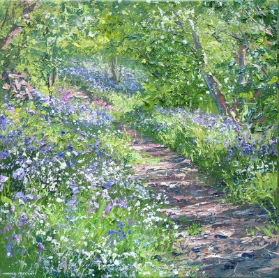Mark PRESTON, contemporary artist - Bluebells and Stitchwort, Bramley Wood