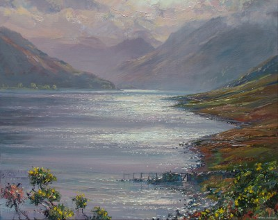 Mark PRESTON, contemporary artist - October Sunlight, Crummock Water