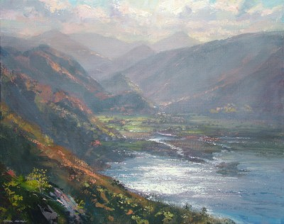 British Artist Mark PRESTON - October Afternoon, Derwentwater
