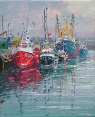 Fishing Boats, Newlyn painting by artist Mark PRESTON