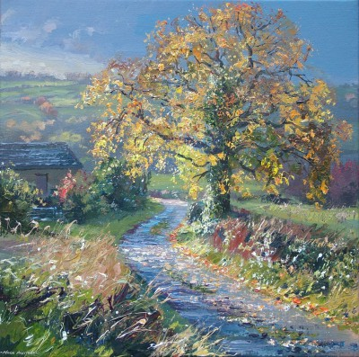 Sunlit Oak, Rookery Farm Lane painting by artist Mark PRESTON