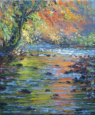 British Artist Mark PRESTON - Autumn Reflections, River Wye