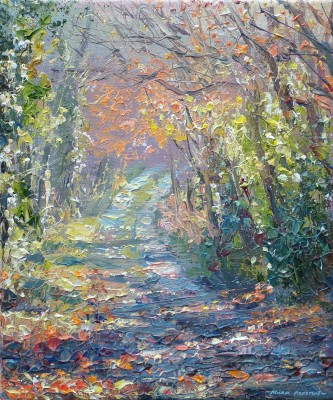 British Artist Mark PRESTON - Sunlit Lane, Wirksworth