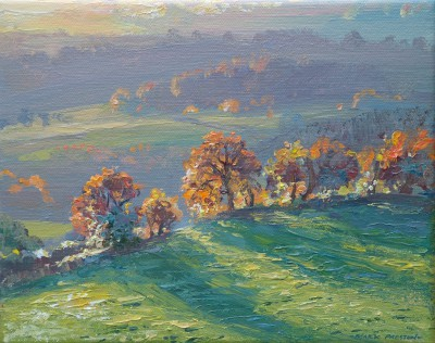 British Artist Mark PRESTON - Long Shadows, Gorsey Bank