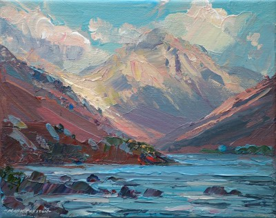 British Artist Mark PRESTON - Sunlight on Great Gable