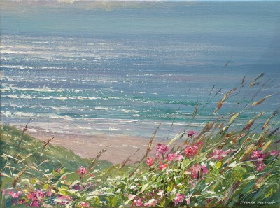 British Artist Mark PRESTON - Red Valerian and Glistening Sea, Sennen