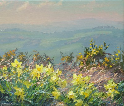 British Artist Mark PRESTON - Daffodils and Gorse, Alport Height