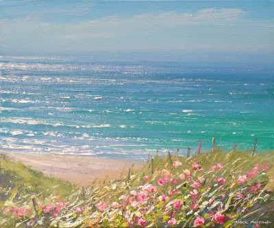 British Artist Mark PRESTON - Red Valerian, Sennen Cove