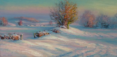 British Artist Mark PRESTON - Sunlit Snowdrifts, Brailsford