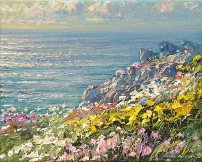 British Artist Mark PRESTON - Spring Evening, Treen Cliffs