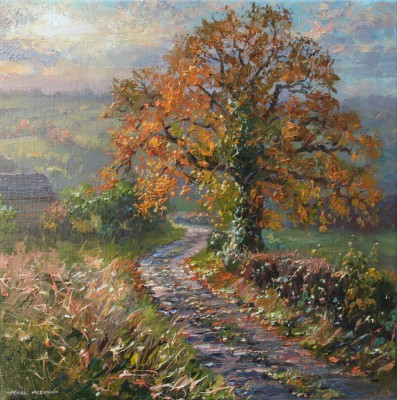 British Artist Mark PRESTON - Autumn sunlight, Rookery Farm Lane