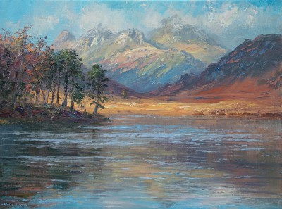 British Artist Mark PRESTON - November sunlight, Blea Tarn