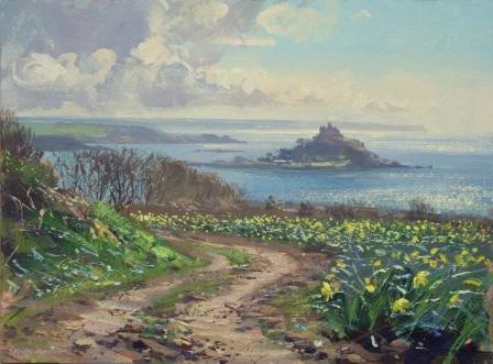 British Artist Mark Preston - April Morning Mounts Bay
