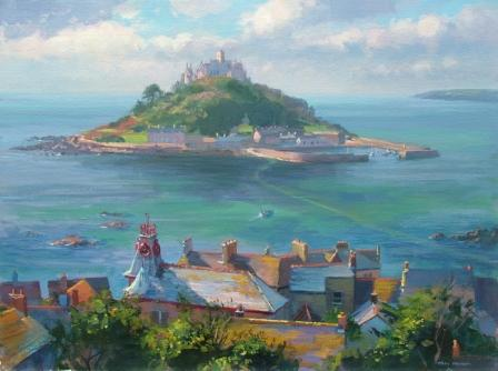 British Artist Mark Preston - Rooftops Marazion
