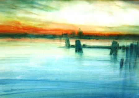 British Artist Martin CAULKIN - Venetian Sunset